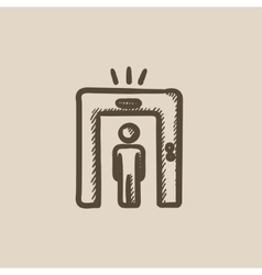 Man going through metal detector gate sketch icon vector