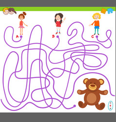 Maze game with girls and teddy vector