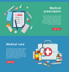 Medical equipment prescription first aid supplies vector