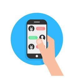 Messages with chatbot in phone vector