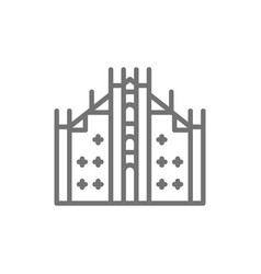 milan cathedral landmark milan italy line vector image