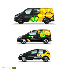 mocup set with advertisement on black car cargo vector image