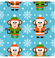 new year seamless card with monkeys vector image