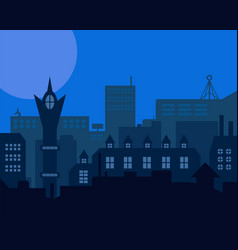 night industrial european city blue styled vector image