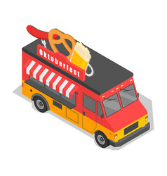 Oktoberfest truck beer and food icon isometric vector