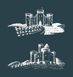 old castles hand drawn vector image