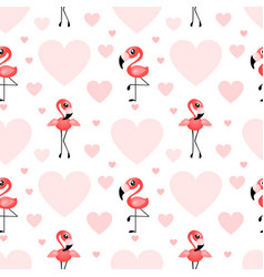Pattern with flamingo and heart shapes on white vector