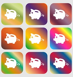 Piggy bank icon sign Nine buttons with bright vector