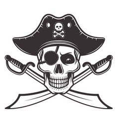 Pirate skull in hat eyepatch vector