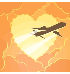 plane flies through clouds in shape heart vector image