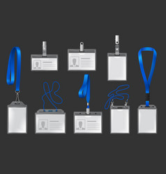 Plastic badges on lanyards and holders vector