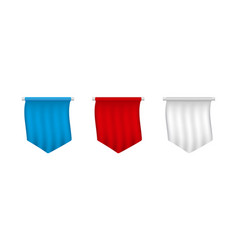 realistic white red blue blank pennant set vector image
