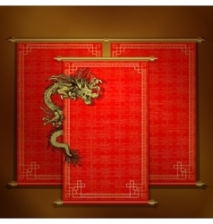 Red scroll with chinese dragon vector