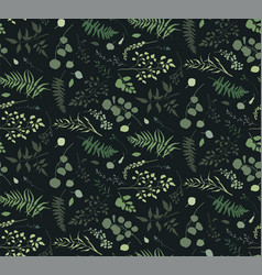 Seamless pattern of eucalyptus palm fern vector