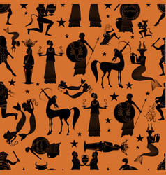 Seamless pattern of zodiac signs in the style vector
