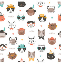 Seamless pattern with cute funny cat faces or vector