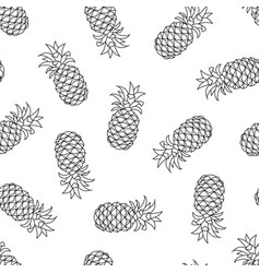 seamless pattern with pineapple on white vector image