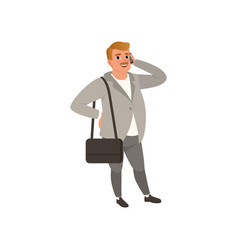 Self-confident businessman standing with bag on vector