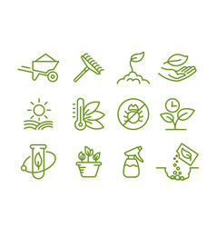 Set icons growing seedlings plant agriculture vector