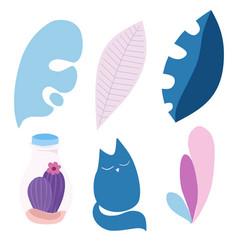 Set leaves cat cactus in pastel colors vector