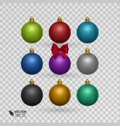set of colorful christmas balls on transparent vector image