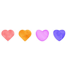 set of colorful watercolor hearts drawn by brush vector image