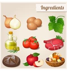 set of food icons ingredients vector image