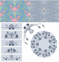 set of lotus decoration design element vector image
