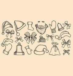 Set of santas hats vector