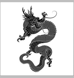 Silhouette of chinese dragon crawling vector