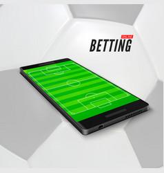 Sport betting online in app on mobile phone vector