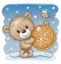 Teddy bear with a christmas toy on a blue vector