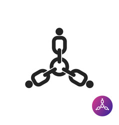 Three people links together icon vector