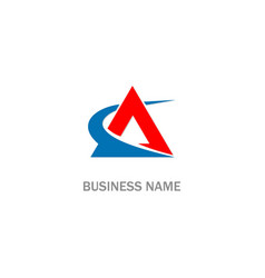 triangle swoosh company logo vector image