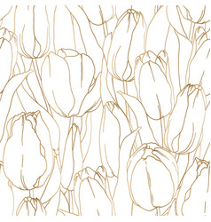 tulips contour seamless pattern vector image
