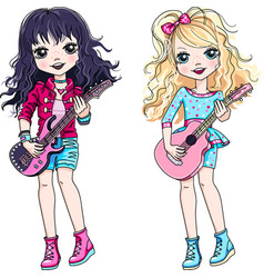 Two girls playing guitar vector
