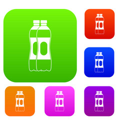two plastic bottles set collection vector image