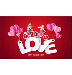 valentines day card with couple in love heart vector image