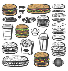vintage burger elements set vector image