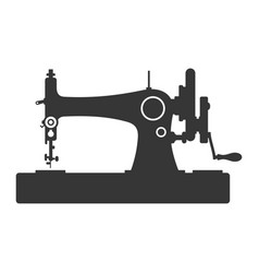 vintage sewing machine icon on white background vector image