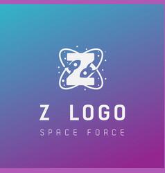 Z initial space force logo design galaxy rocket vector