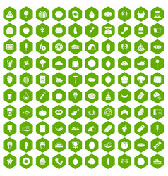 100 favorite food icons hexagon green vector image vector image
