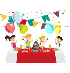 children s birthday with balls and cake vector image