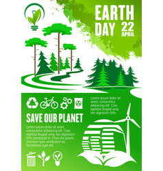 earth day banner of save our planet concept design vector image