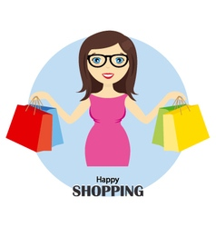 girl with shopping bags vector image vector image