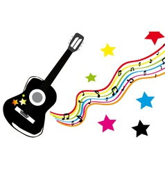 Guitar with colored stars vector image vector image