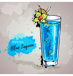 Hand drawn cocktail blue lagoon vector image vector image