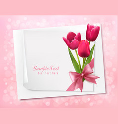 Holiday background with sheet of paper and flowers vector image