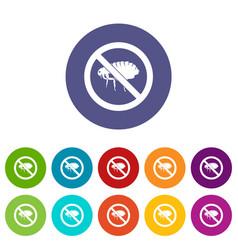 no flea sign set icons vector image
