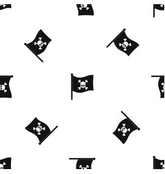 pirate flag pattern seamless black vector image